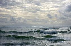 Choppy waves seascape.