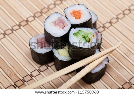 chopsticks and sushi on bamboo mat. japanese cuisine