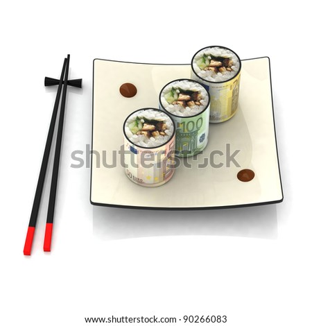 chopsticks and sushi plate with euro banknotes