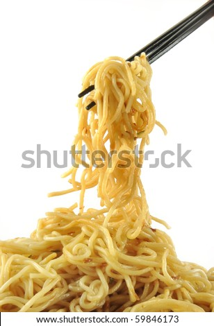 chopsticks holding oriental noodles on a white background