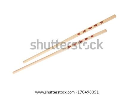 Chopsticks With The Chinesejapanese Symbols Isolated On White Ez