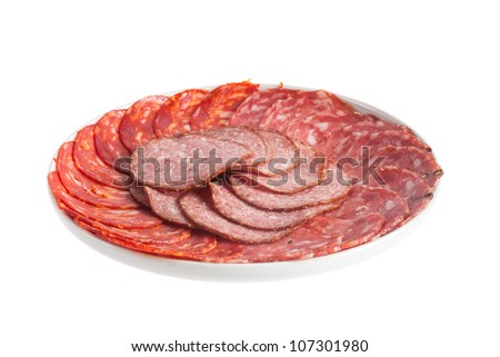 Chorizo, salchichon, salami sausage on a plate isolated over white background - stock photo