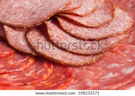 Chorizo, salchichon, salami sausage on a plate isolated over white background