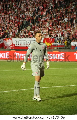 CHORZOW - SEPTEMBER 5: Artur Boruc (Celtic Glasgow) during the 2010 FIFA World Cup qualification match between Poland and Northern Ireland at the Slaski Stadium on September 5, 2009 in Chorzow, Poland