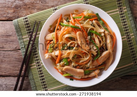 Chow Mein: fried noodles with chicken and vegetables close-up. horizontal view from above