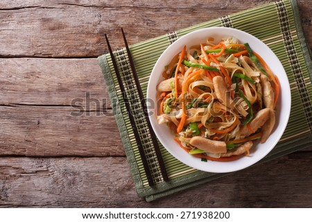 Chow Mein: fried noodles with chicken and vegetables. horizontal view from above  ストックフォト ©