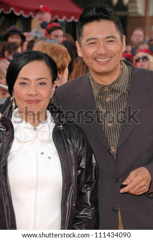 "Chow Yun-Fat and wife Jasmine at the World Premiere of ""Pirates of the Caribbean: At World's End"". Disneyland, Anaheim, CA. 05-19-07"