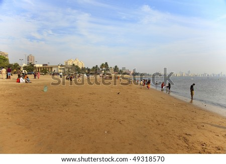 Chowpatty Beach - Mumbai, India. Skyline of Mumbai. Photo taken with a wide-angle lens. - stock photo
