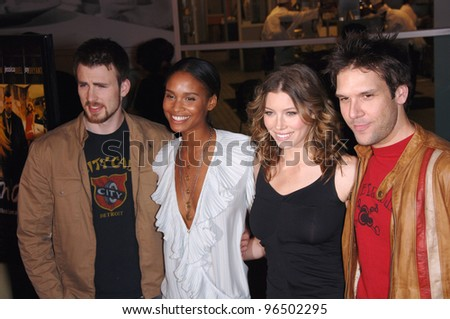 "CHRIS EVANS (left), JOY BRYANT, JESSICA BIEL & DANE COOK at the Los Angeles premiere of their new movie ""London"". February 6, 2006  Los Angeles, CA.  2006 Paul Smith / Featureflash"
