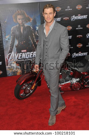 "Chris Hemsworth at the world premiere of his new movie ""Marvel's The Avengers"" at the El Capitan Theatre, Hollywood. April 11, 2012  Los Angeles, CA Picture: Paul Smith / Featureflash"