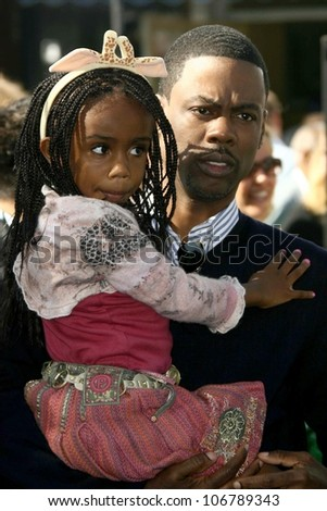 Chris Rock and his daughter  at the Los Angeles Premiere of 'Madagascar Escape 2 Africa'. Mann Village Theatre, Westwood, CA. 10-26-08