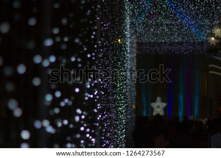 Chrismas Festival ,Light of star,light of Church,lamp of star,light of star,Tunnel of light,Star Wall in the night,Christmas light,at Ban Tha Rae,Sakon Nakhon,Thailand. #1264273567