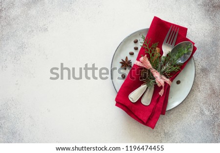 Chrismas table place setting. Tableware, evergreen twigs, cone and spice. New Year food concept #1196474455