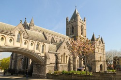 Christ Church Cathedral in Dublin, Ireland in spring