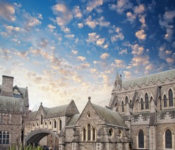 Christ Church Cathedral in Dublin, Ireland in winter.