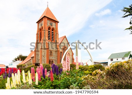 Christ Church Cathedral. Port Stanley, Falkland Islands.  Decorated with Whale Bone Arch. Southern most Anglican Cathedral in the World. Photo stock ©