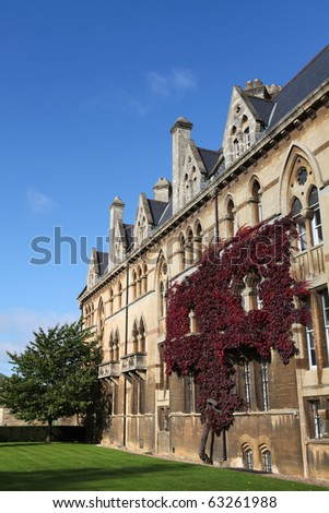 Christ Church in Oxford, one of the most famous colleges of Oxford University in England.
