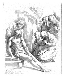 Christ is placed in the rock tomb by Joseph of Arimathea. On the right a group of mourning women including Mary and Maria Magdelena. (Matthew 27: 57-61). The print has two Latin captions.