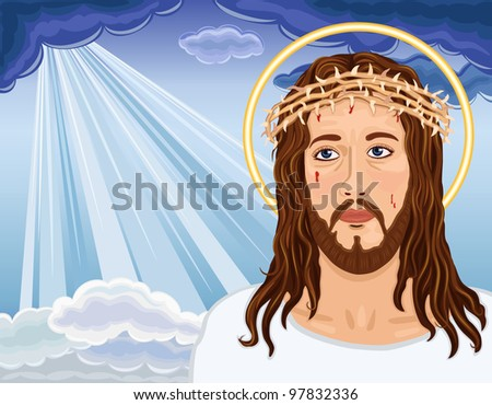 Christ is Risen - portrait of Jesus Christ bringing salvation to humanity.