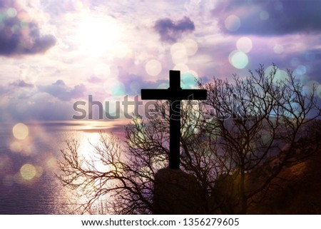 Christ Jesus concept: cross in the morning at sunrise - Image