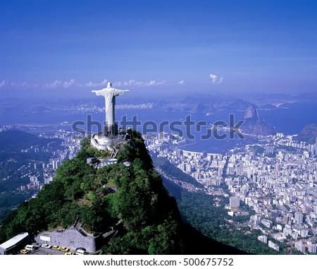 christ statue aerial fotograph #500675752