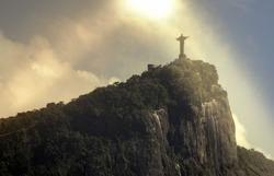 Christ the Redeemer in the sun,  Rio de Janeiro, Brazil