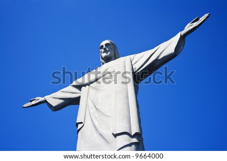 Christ the Redeemer on Corcovado Mountain, Rio de Janeiro  Brazil South America  The statue stands 38 m (125 feet) tall and is located at the peak of the 710-m (2330-foot) Corcovado mountain