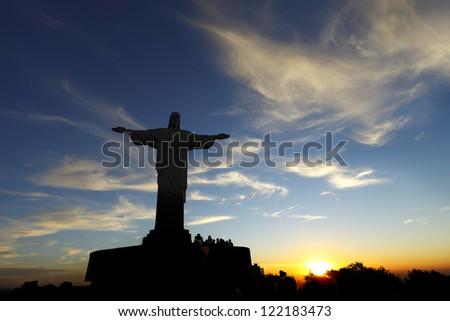 Christ the Redeemer statue in rio de janeiro in brazil - stock photo