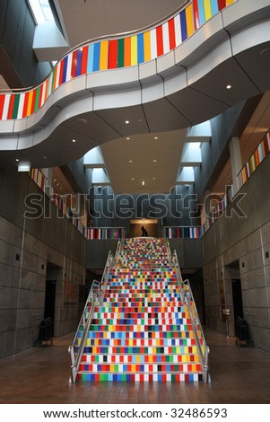Christchurch Art Gallery interior in New Zealand. Colorful stairs.