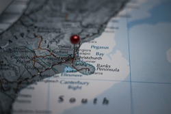 Christchurch, city in New Zealand pinned on geographical map