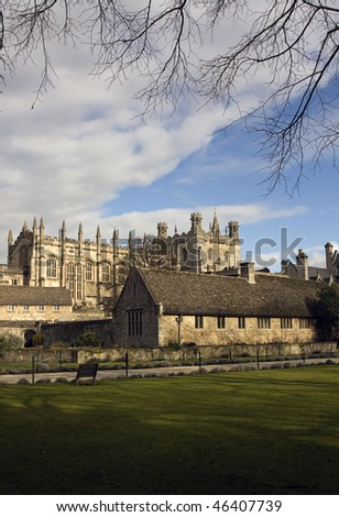 christchurch college meadow, oxford - stock photo