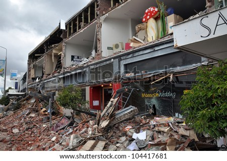 CHRISTCHURCH, NEW ZEALAND - FEBRUARY 23: The popular Merivale fashion shopping centre is one of the worst hit areas from a massive earthquake on February 23, 2011 in Christchurch, New Zealand.