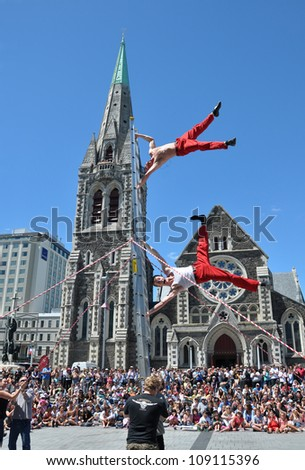 CHRISTCHURCH, NEW ZEALAND - JANUARY 24: U.S. entertainers David Graham and Tobin Renwick (The Flash) performing at the 18th World Buskers Festival on  January 24, 2011 in Christchurch.