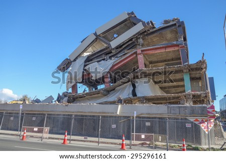 CHRISTCHURCH, NEW ZEALAND - JUNE 11, 2015: Ruins of buildings destroyed in the 2011 earthquake are still visible today in town #295296161