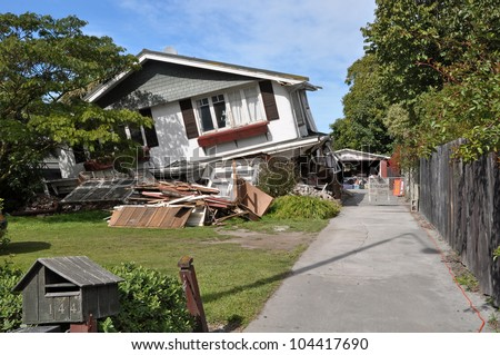 CHRISTCHURCH, NEW ZEALAND - MARCH 26: House in Avonside collapses in the largest earthquake Christchurch has ever experienced - 7.1 on the Richter Scale on March 26, 2011 in Christchurch, New Zealand.
