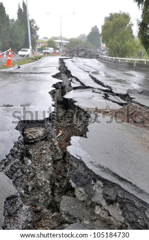 CHRISTCHURCH, NEW ZEALAND - MARCH 20: Large cracks appear in the Fitzgerald Avenue bridge following a huge earthquake on March 20, 2011 in Christchurch.
