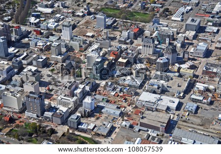 CHRISTCHURCH, NEW ZEALAND - SEPTEMBER 21: Aerial view of Christchurch reveals building demolitions in the central city after recent devastating earthquakes on September 21, 2011 in Christchurch.
