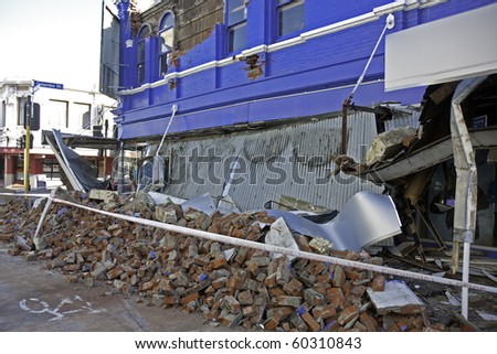 CHRISTCHURCH, NEW ZEALAND- SEPTEMBER 4:Image of part of a collapsed building in the CBD caused by earthquake on Sept 4, 2010 in Christchurch.  The 7.1 earthquake hit at 4:35am