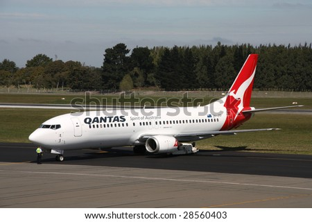 CHRISTCHURCH, NZ - MARCH 18: Qantas Jetconnect aircraft taxis March 18, 2009 at Christchurch Airport. On April 15 Qantas announced the deferment of new aircraft delivery due to the financial crisis.