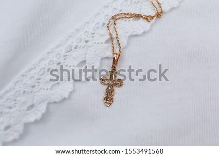 Christening accessories: little golden cross on christening blanket #1553491568