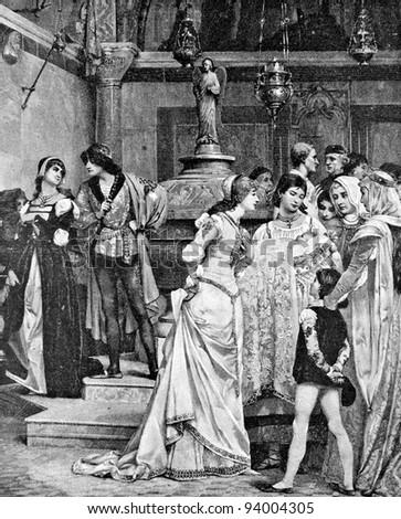 christening baby in medieval...