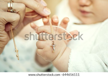 Christening the baby at the Orthodox church