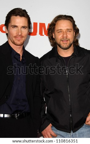 """Christian Bale and Russell Crowe at the """"3:10 To Yuma"""" Los Angeles Premiere. Mann National Theatre, Westwood, CA. 08-21-07 - stock photo"""