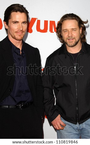 """Christian Bale and Russell Crowe at the """"3:10 To Yuma"""" Los Angeles Premiere. Mann National Theatre, Westwood, CA. 08-21-07"""
