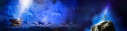 Christian Christmas and Easter concept. Birth, death, resurrection of Jesus Christ. Wooden manger, nativity scene, three crosses background. Jesus is reason for season. Salvation, Messiah, Emmanuel.