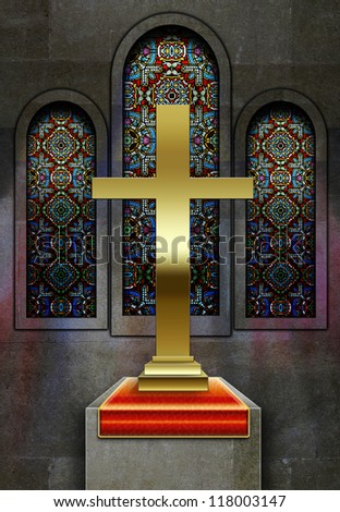 Christian church stained glass windows with metal cross on plinth