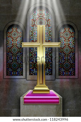 Christian church stained glass windows with metal cross on plinth with rays of light