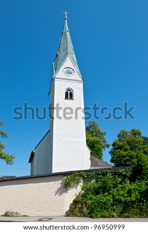Christian Church with Clock Tower in Southern Bavaria