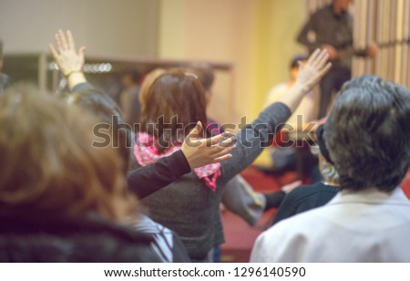 Christian congregation worship God together