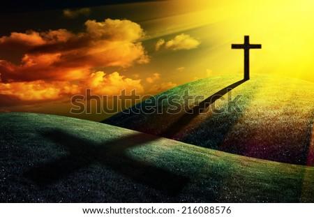 christian cross on sunset background for your design